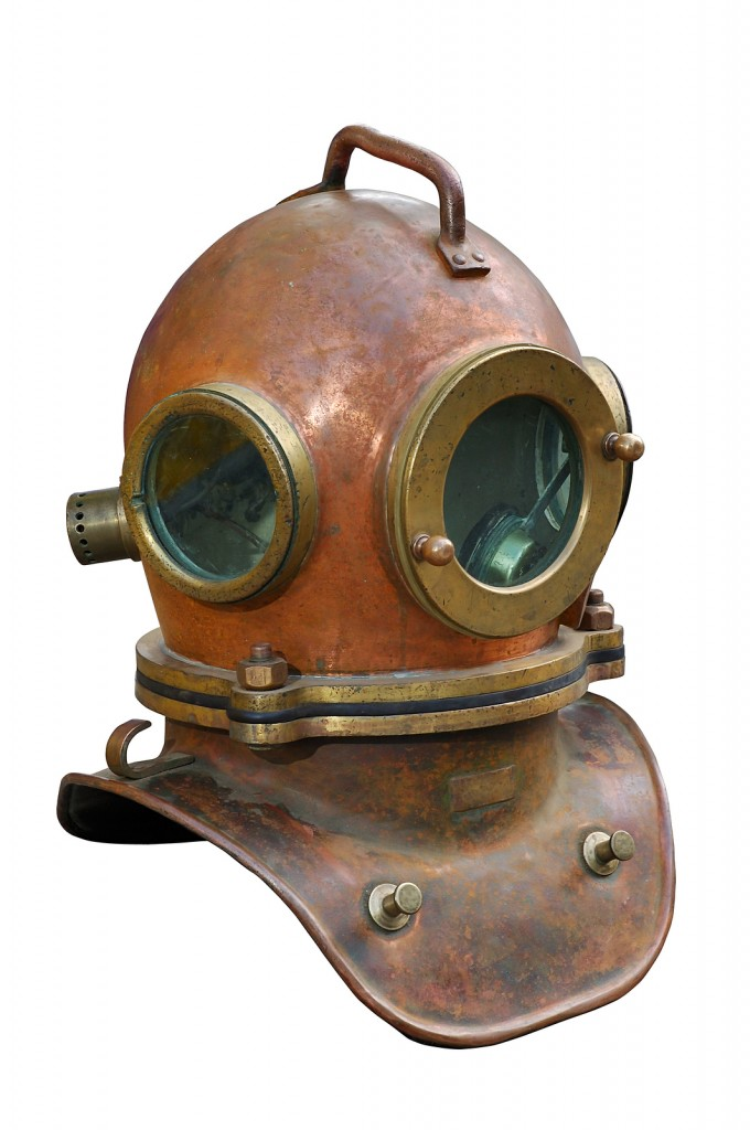 Old antique metal scuba helmet